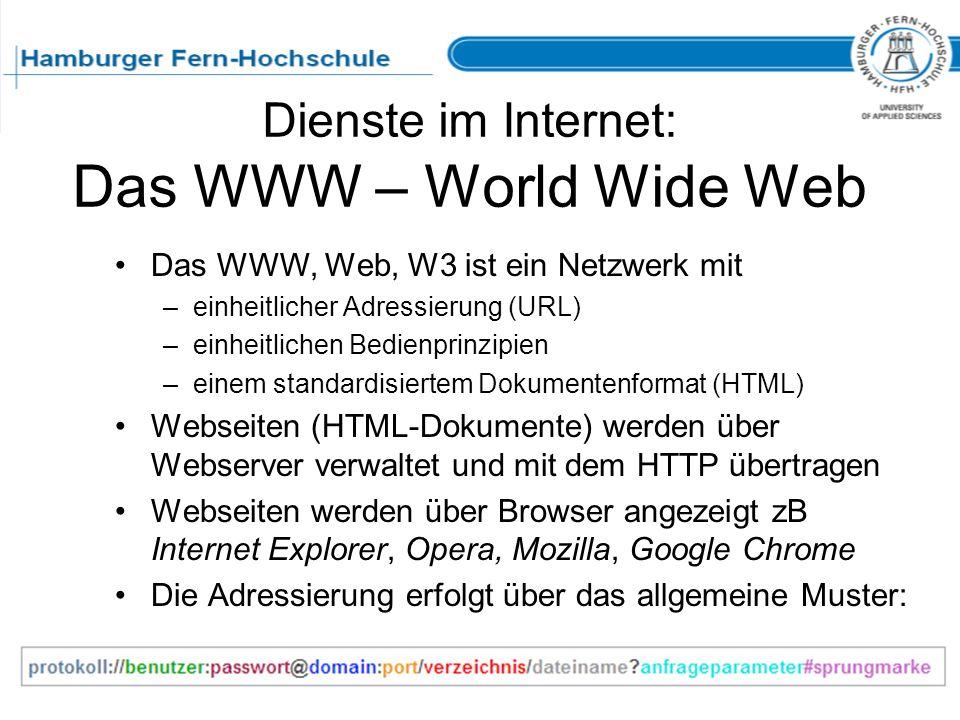 Dienste im Internet: Das WWW – World Wide Web