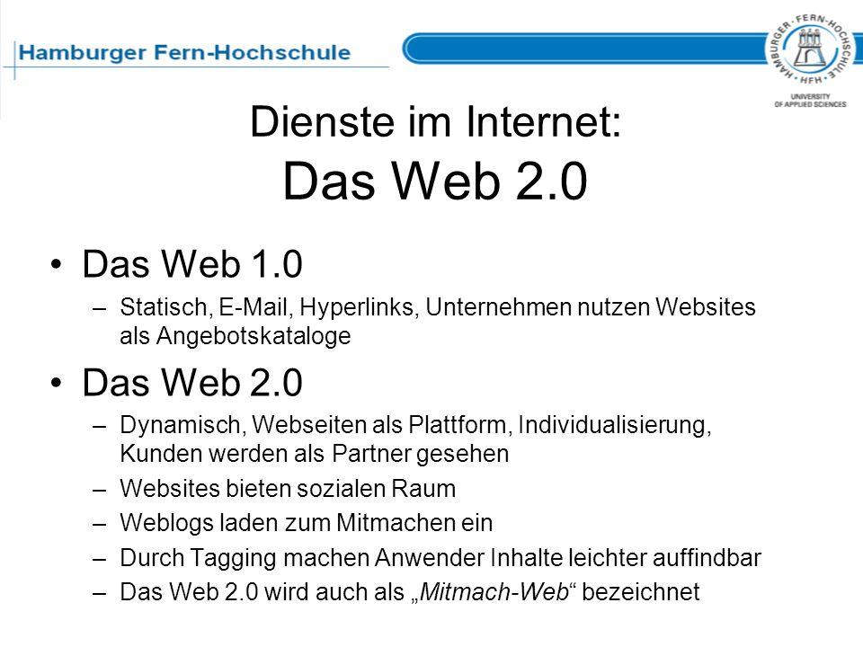 Dienste im Internet: Das Web 2.0