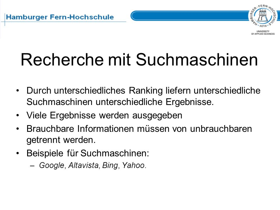 Recherche mit Suchmaschinen