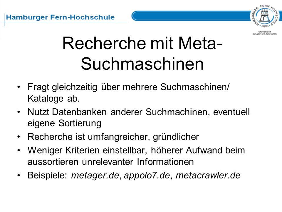 Recherche mit Meta-Suchmaschinen