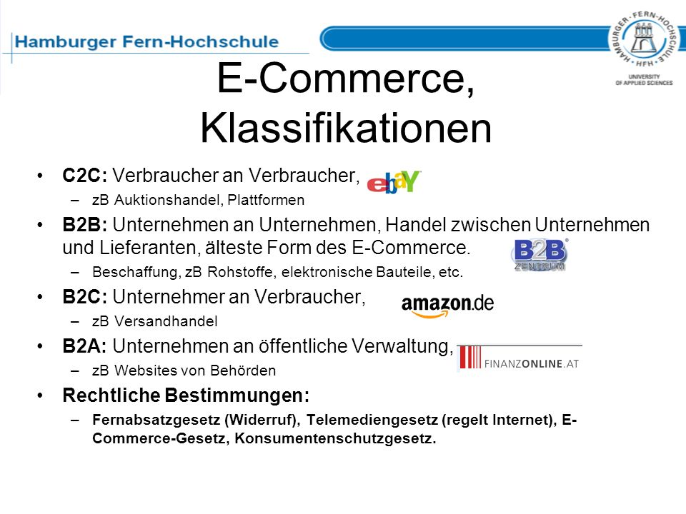 E-Commerce, Klassifikationen