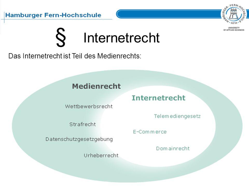 Internetrecht § Das Internetrecht ist Teil des Medienrechts:
