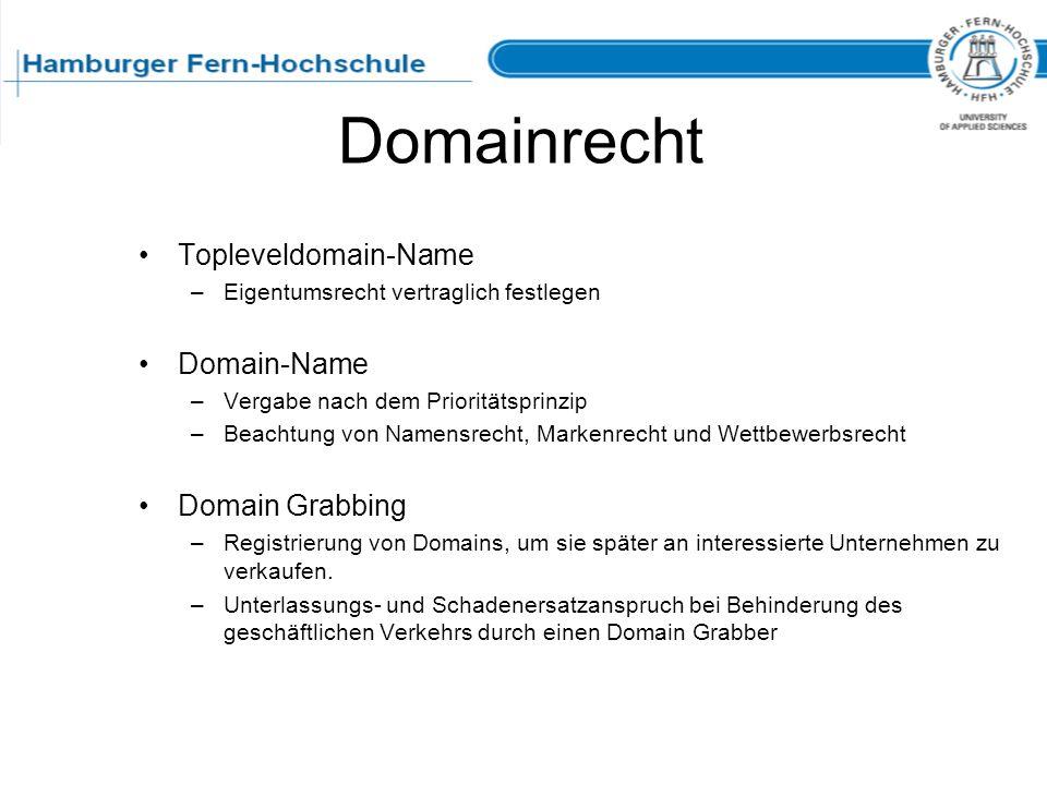 Domainrecht Topleveldomain-Name Domain-Name Domain Grabbing