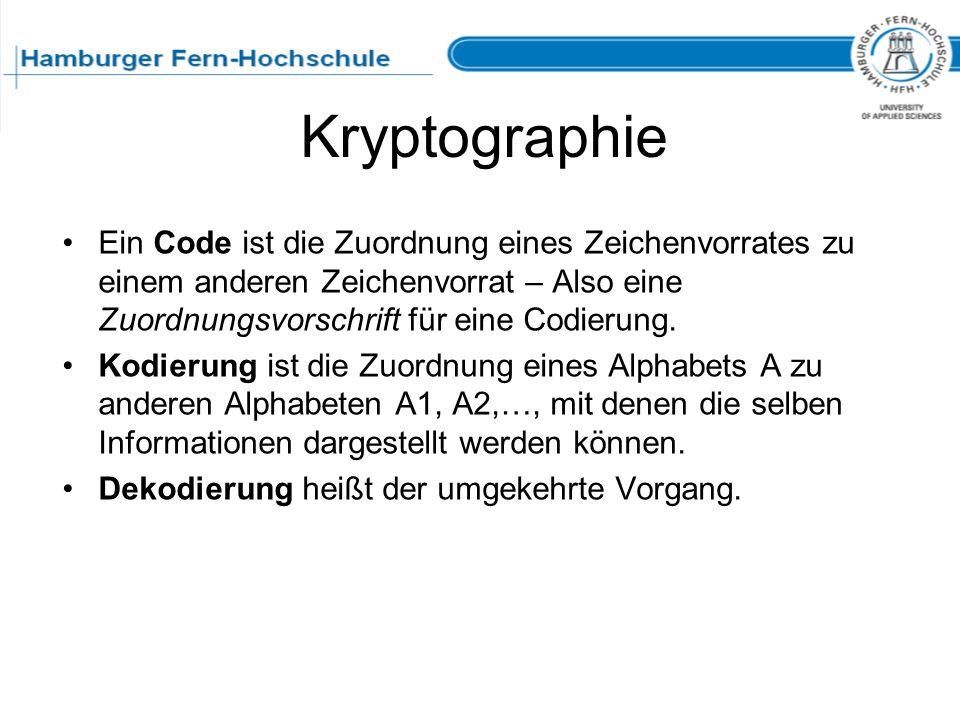 Kryptographie Ein Code ist die Zuordnung eines Zeichenvorrates zu einem anderen Zeichenvorrat – Also eine Zuordnungsvorschrift für eine Codierung.