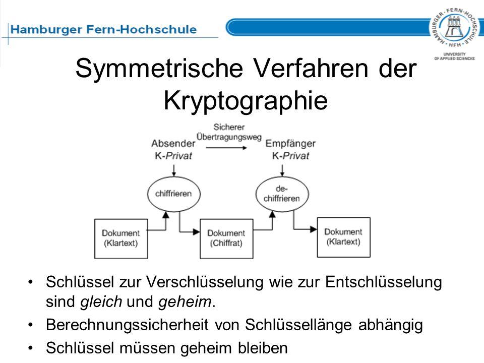 Symmetrische Verfahren der Kryptographie