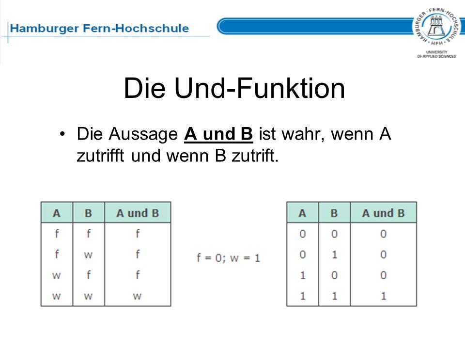 Die Und-Funktion Die Aussage A und B ist wahr, wenn A zutrifft und wenn B zutrift.