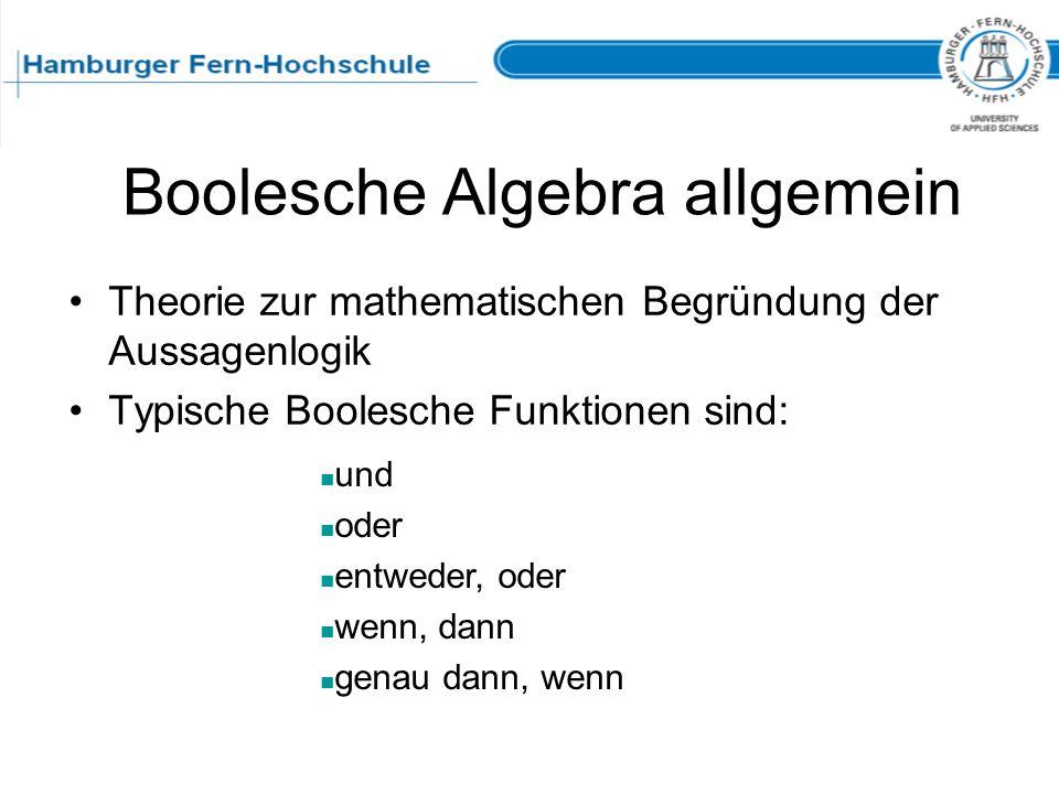 Boolesche Algebra allgemein