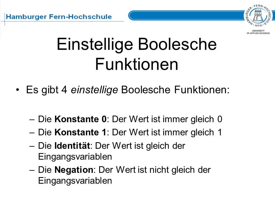 Einstellige Boolesche Funktionen
