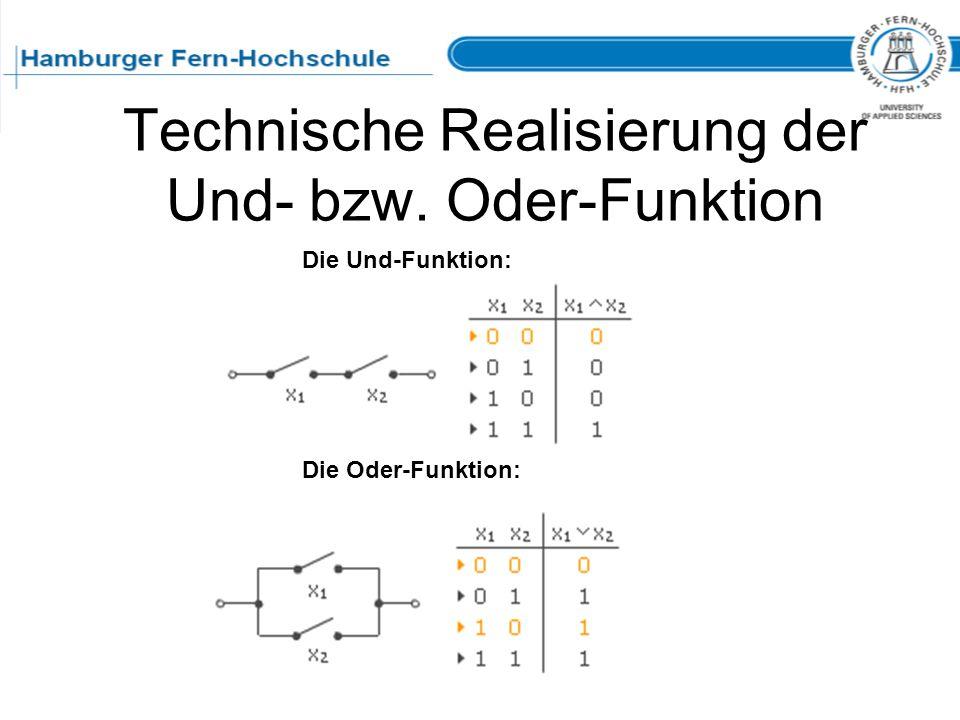 Technische Realisierung der Und- bzw. Oder-Funktion
