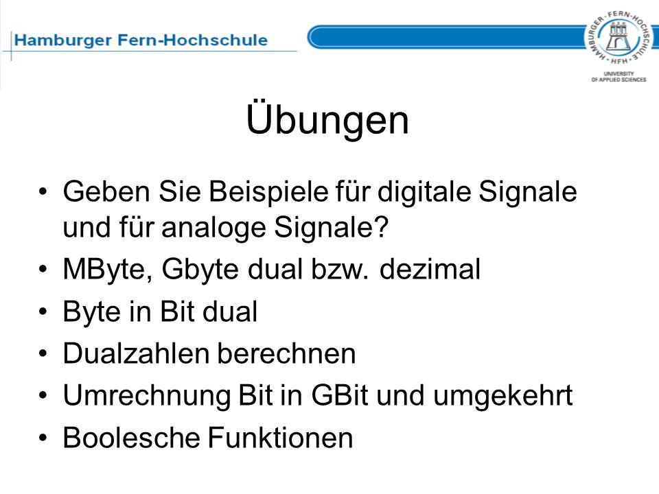 Übungen Geben Sie Beispiele für digitale Signale und für analoge Signale MByte, Gbyte dual bzw. dezimal.