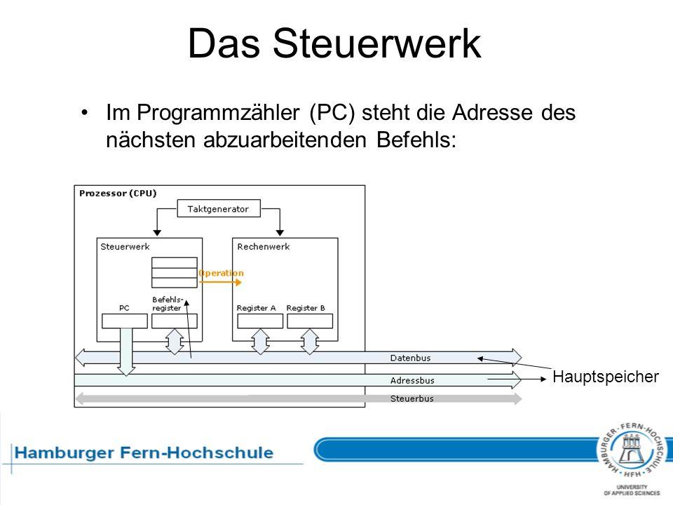Das Steuerwerk Im Programmzähler (PC) steht die Adresse des nächsten abzuarbeitenden Befehls: Hauptspeicher.