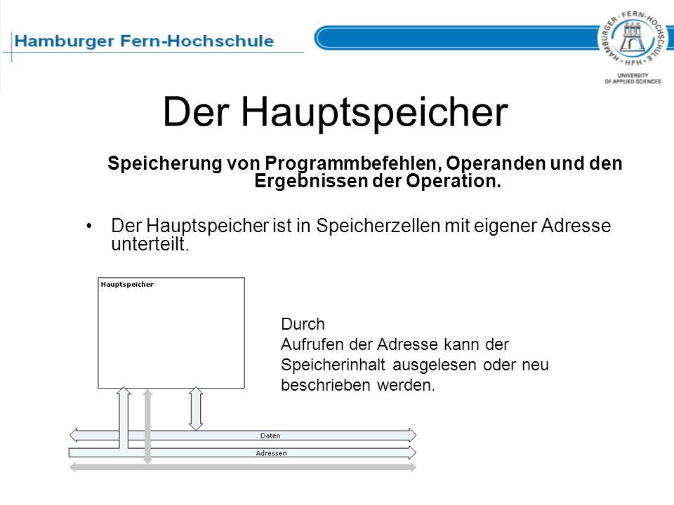Der Hauptspeicher Speicherung von Programmbefehlen, Operanden und den Ergebnissen der Operation.