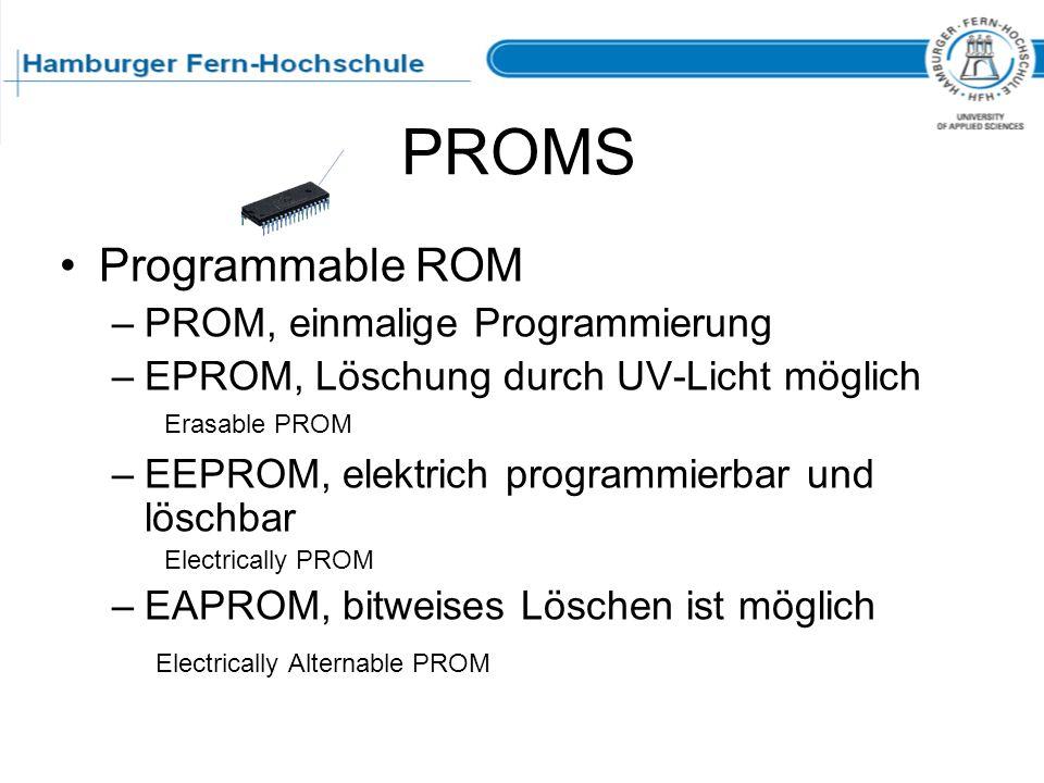 PROMS Programmable ROM PROM, einmalige Programmierung