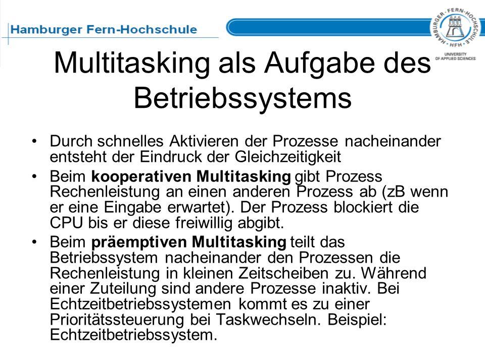 Multitasking als Aufgabe des Betriebssystems