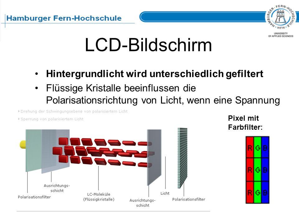 LCD-Bildschirm Hintergrundlicht wird unterschiedlich gefiltert