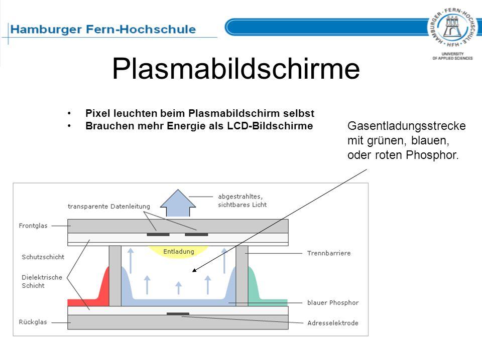 PlasmabildschirmePixel leuchten beim Plasmabildschirm selbst. Brauchen mehr Energie als LCD-Bildschirme.
