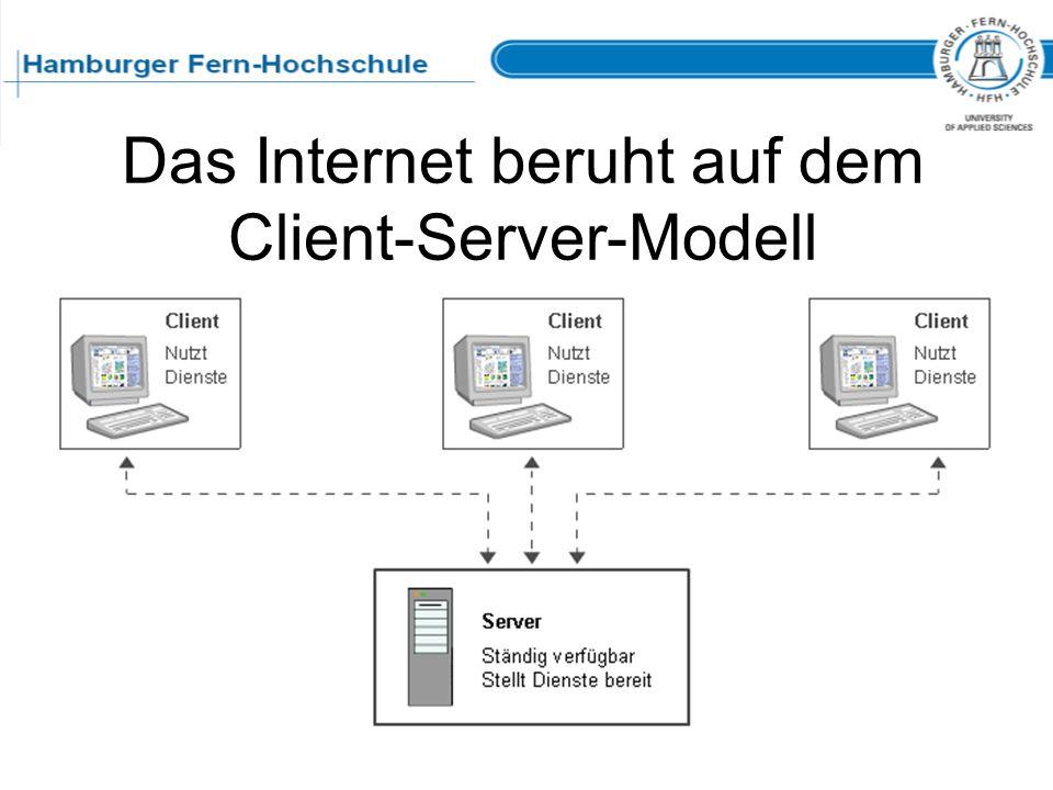 Das Internet beruht auf dem Client-Server-Modell