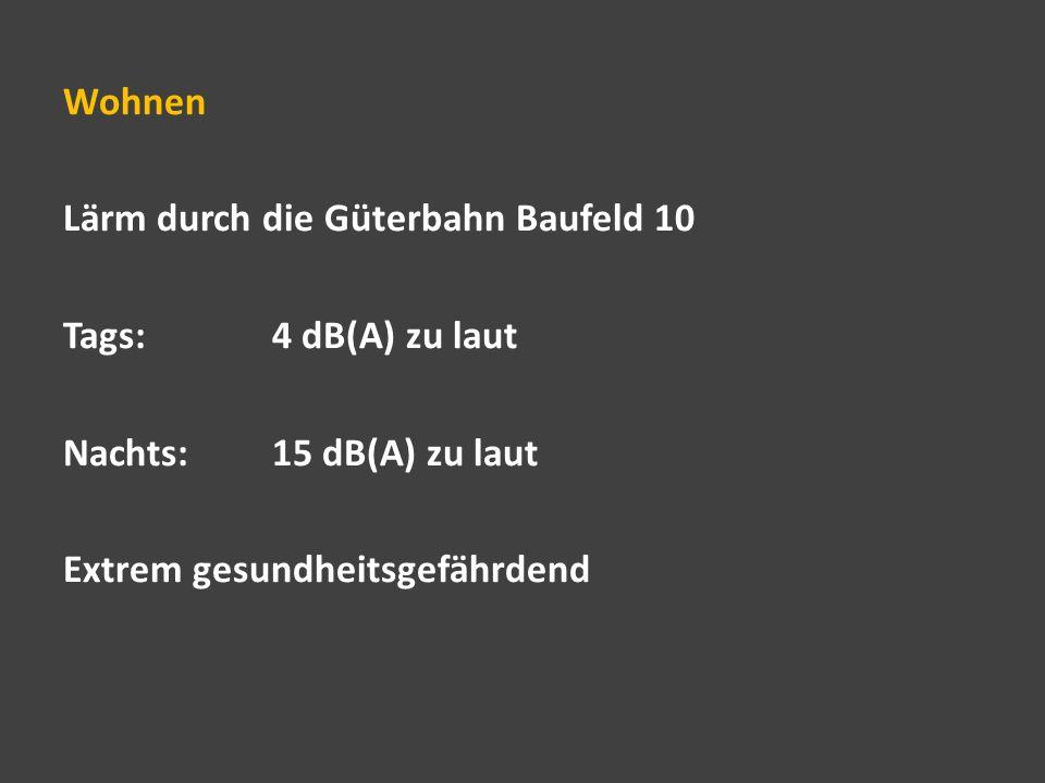 Wohnen Lärm durch die Güterbahn Baufeld 10. Tags: 4 dB(A) zu laut.