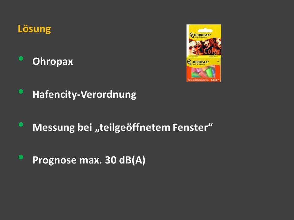 """Lösung Ohropax Hafencity-Verordnung Messung bei """"teilgeöffnetem Fenster Prognose max. 30 dB(A)"""