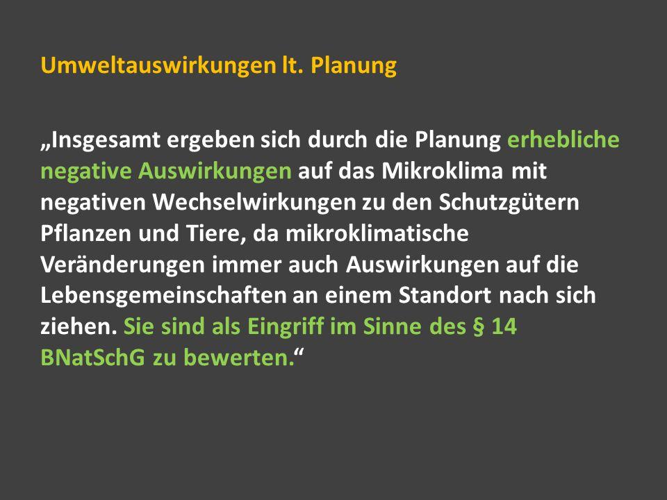 Umweltauswirkungen lt. Planung
