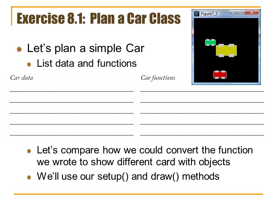 Exercise 8.1: Plan a Car Class