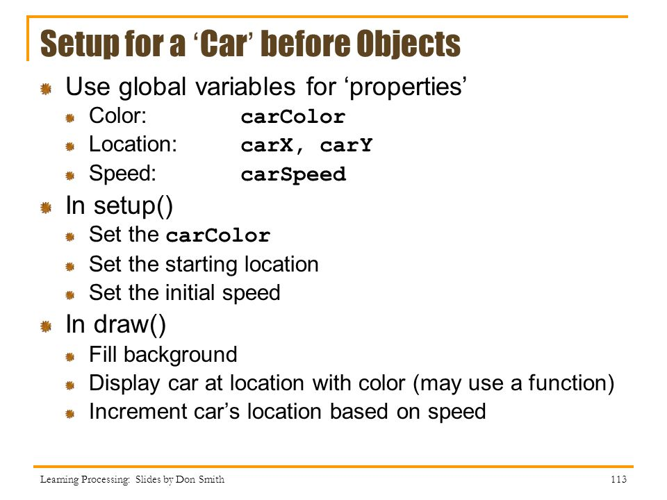 Setup for a 'Car' before Objects