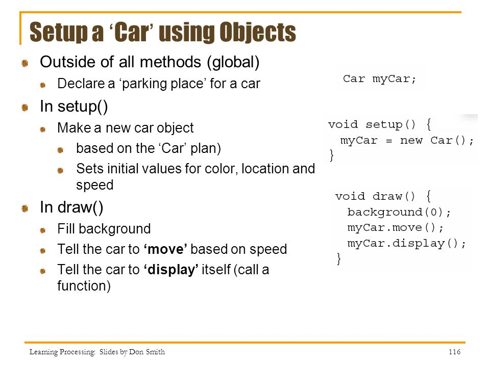 Setup a 'Car' using Objects