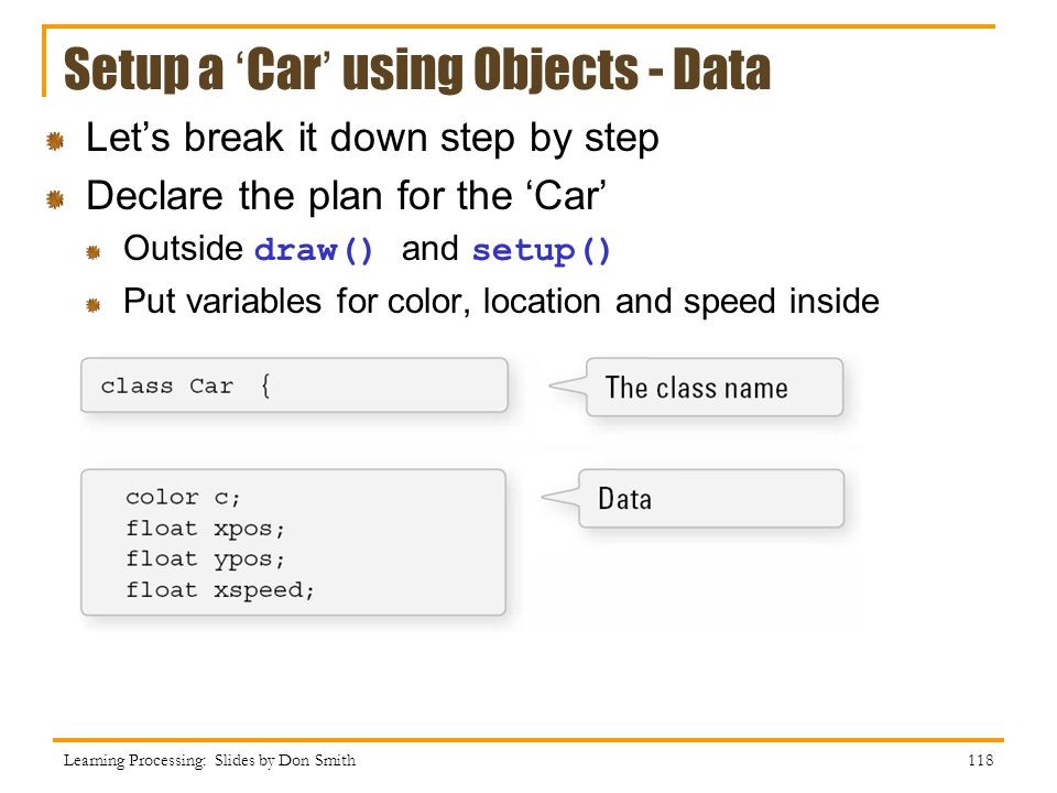 Setup a 'Car' using Objects - Data