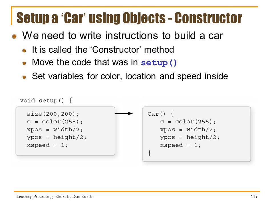 Setup a 'Car' using Objects - Constructor