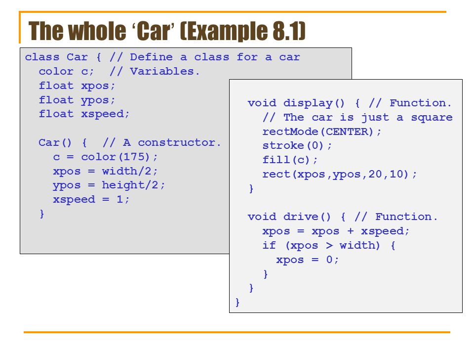 The whole 'Car' (Example 8.1)