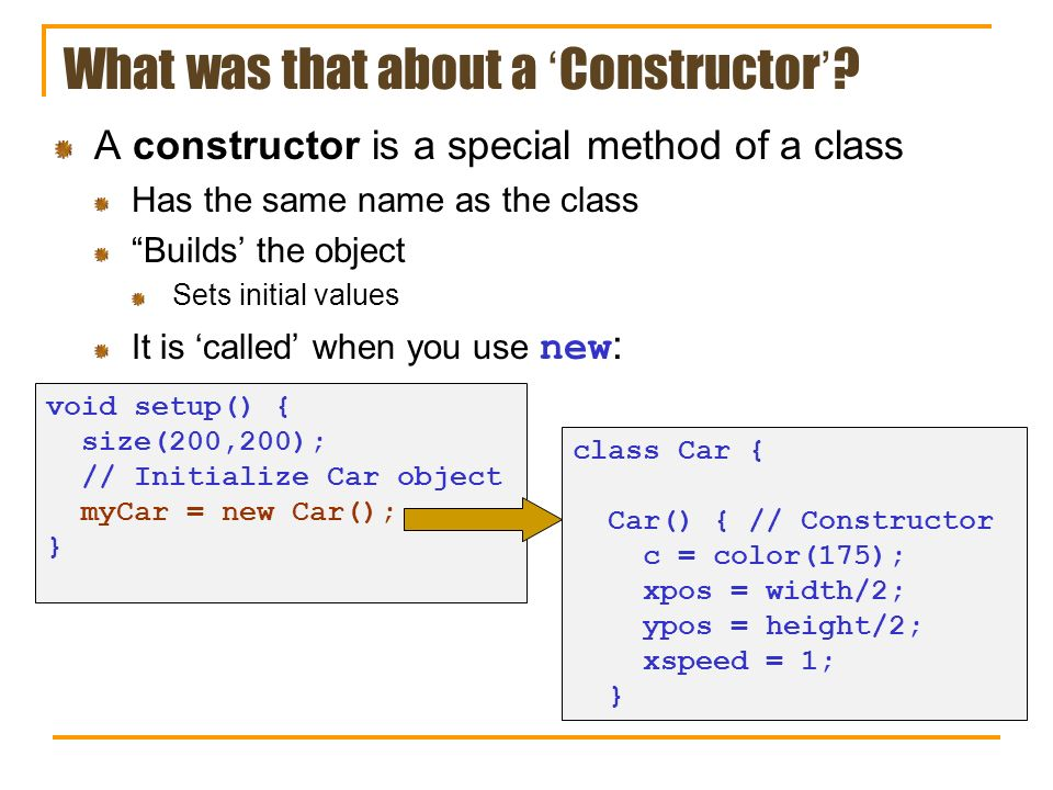 What was that about a 'Constructor'