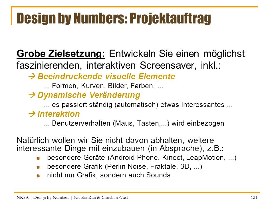 Design by Numbers: Projektauftrag