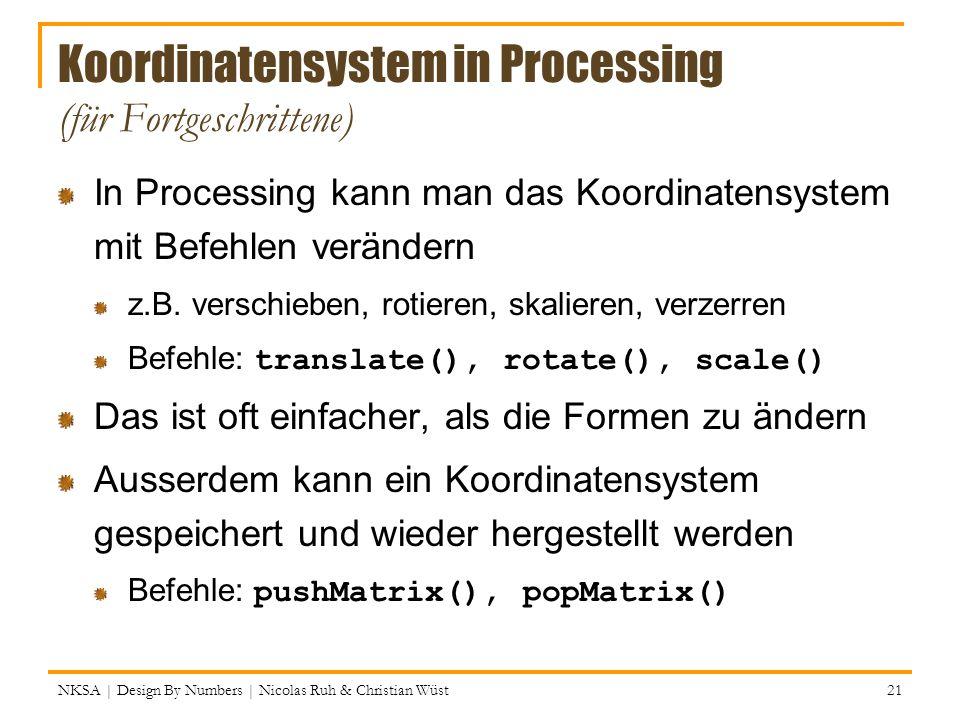 Koordinatensystem in Processing (für Fortgeschrittene)