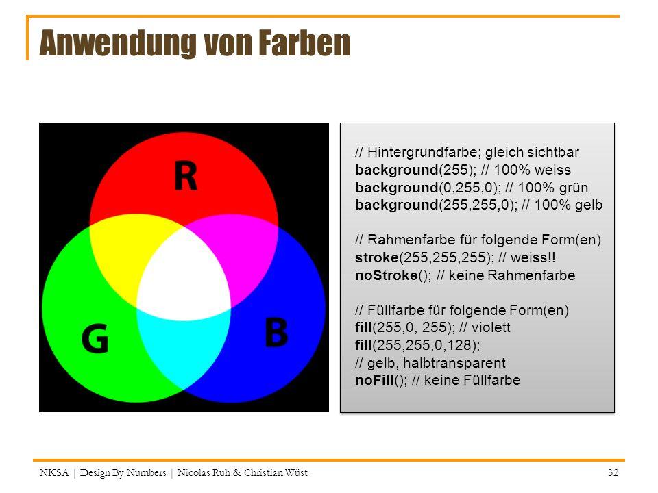 Anwendung von Farben // Hintergrundfarbe; gleich sichtbar