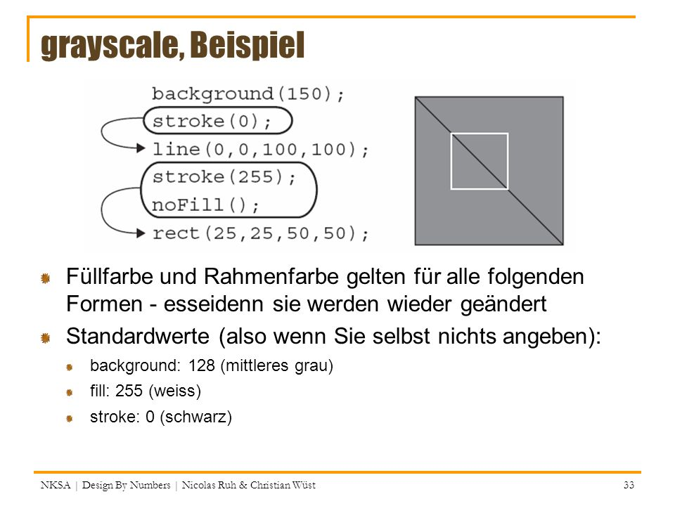 grayscale, Beispiel Füllfarbe und Rahmenfarbe gelten für alle folgenden Formen - esseidenn sie werden wieder geändert.
