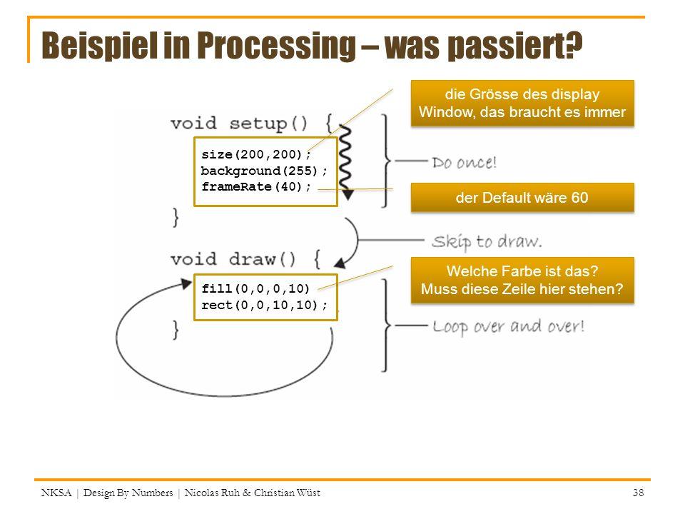 Beispiel in Processing – was passiert