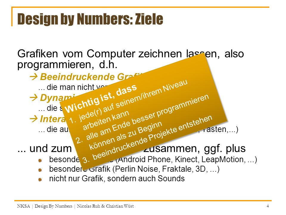 Design by Numbers: Ziele
