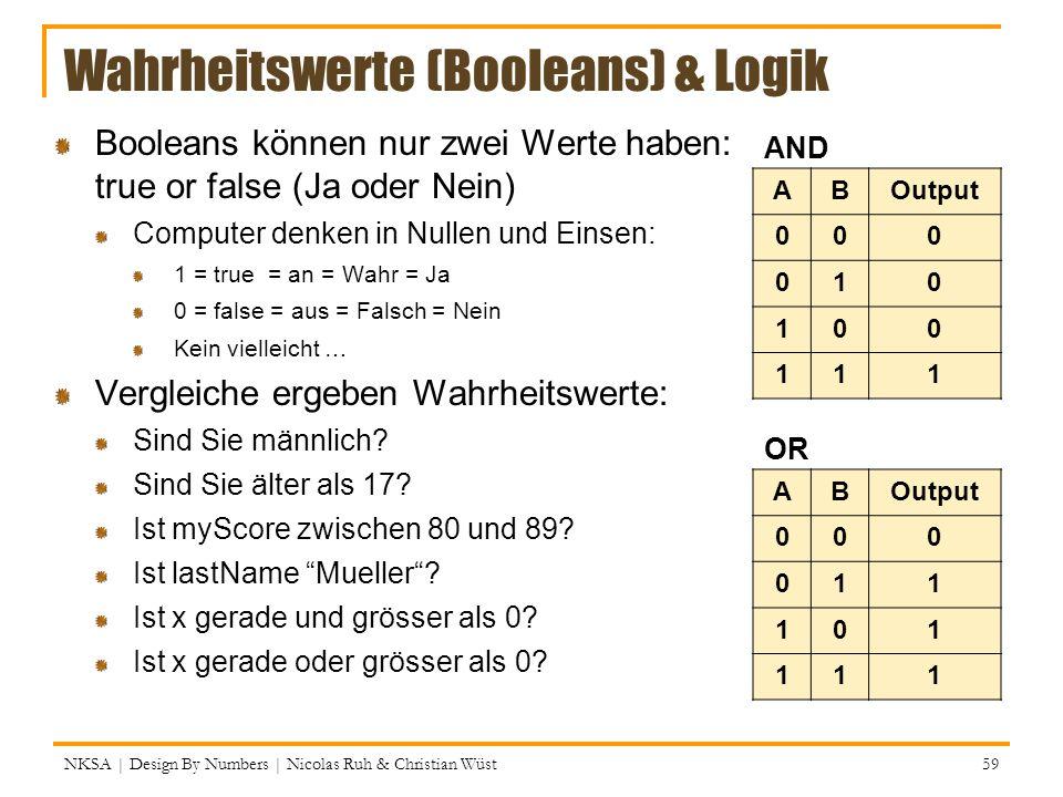Wahrheitswerte (Booleans) & Logik