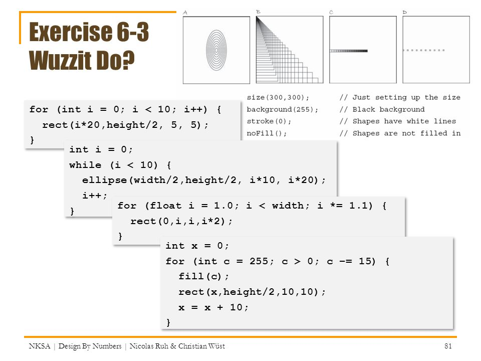 Exercise 6-3 Wuzzit Do for (int i = 0; i < 10; i++) {