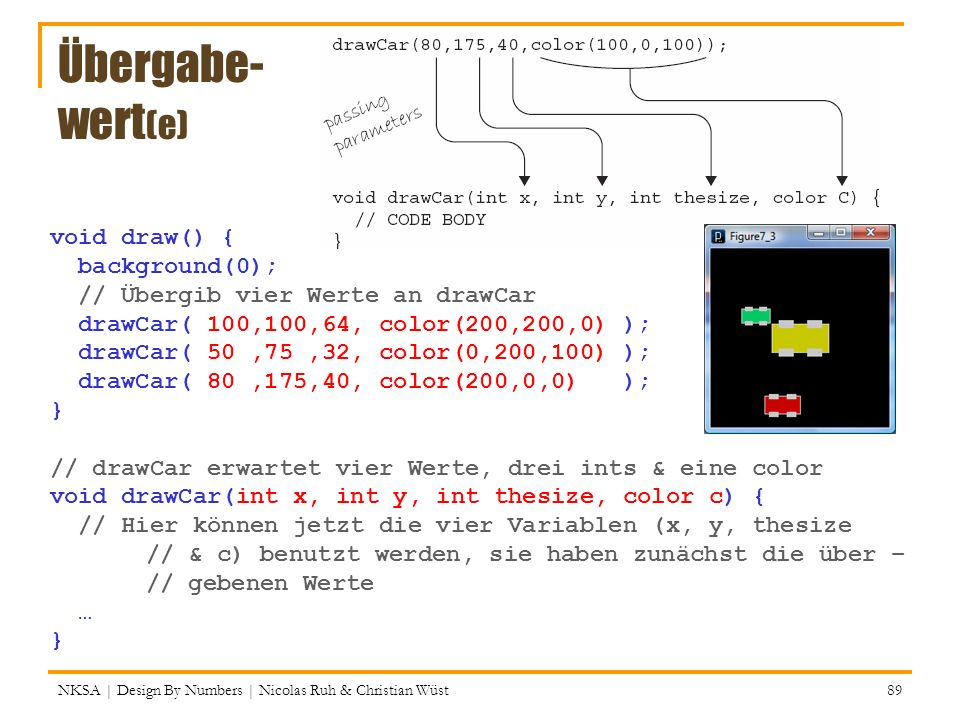 Übergabe- wert(e) void draw() { background(0);
