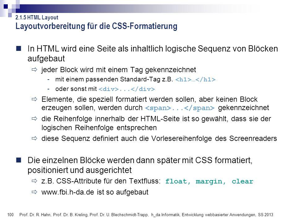 Layoutvorbereitung für die CSS-Formatierung