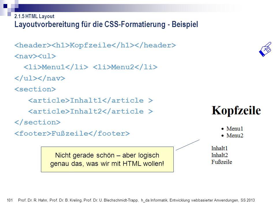 Layoutvorbereitung für die CSS-Formatierung - Beispiel