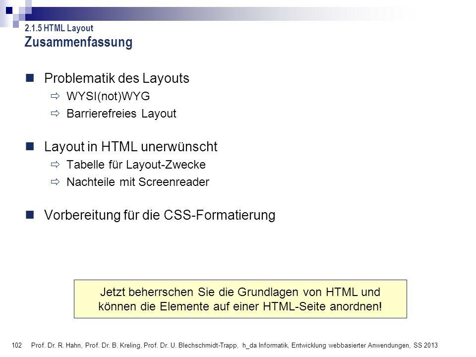 Zusammenfassung Problematik des Layouts Layout in HTML unerwünscht