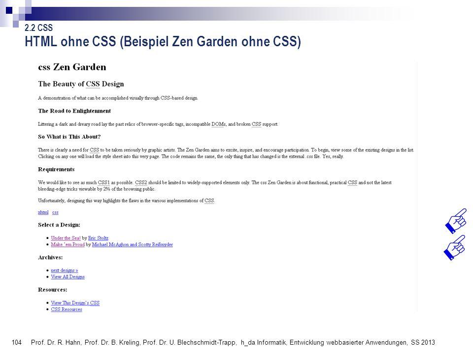 HTML ohne CSS (Beispiel Zen Garden ohne CSS)