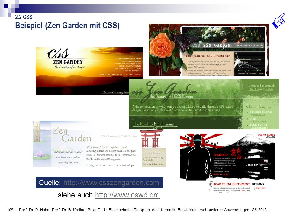 Beispiel (Zen Garden mit CSS)