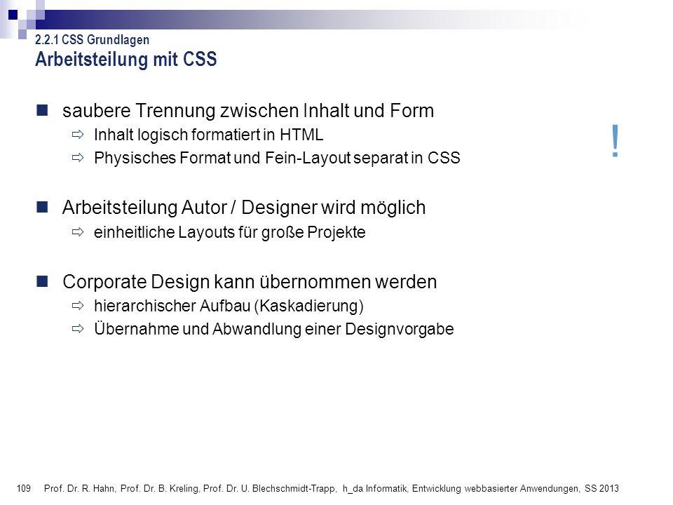 Arbeitsteilung mit CSS