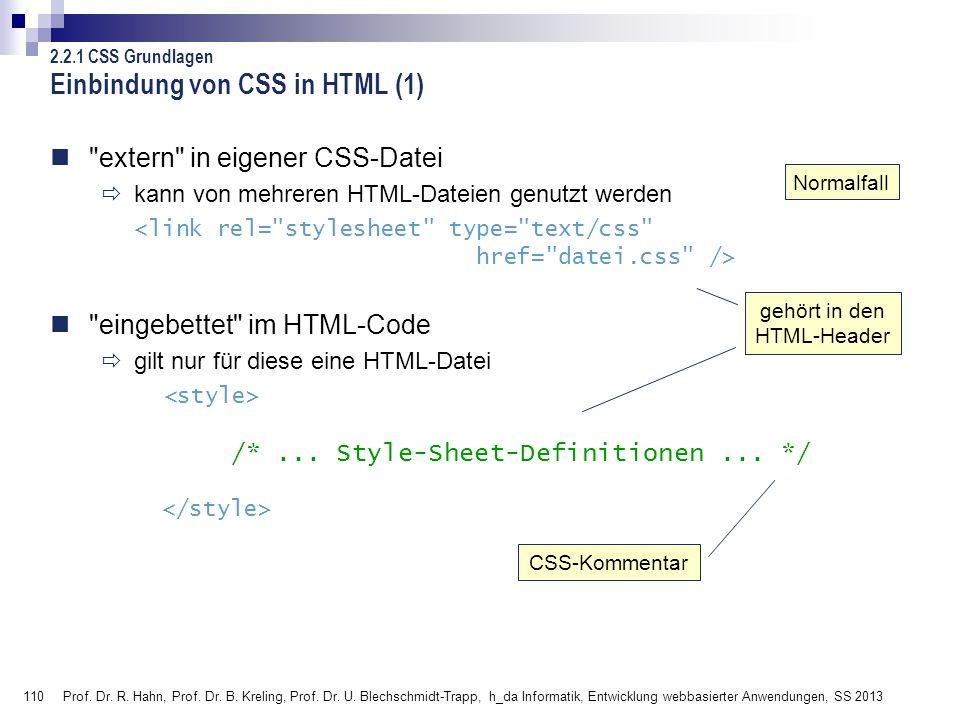 Einbindung von CSS in HTML (1)
