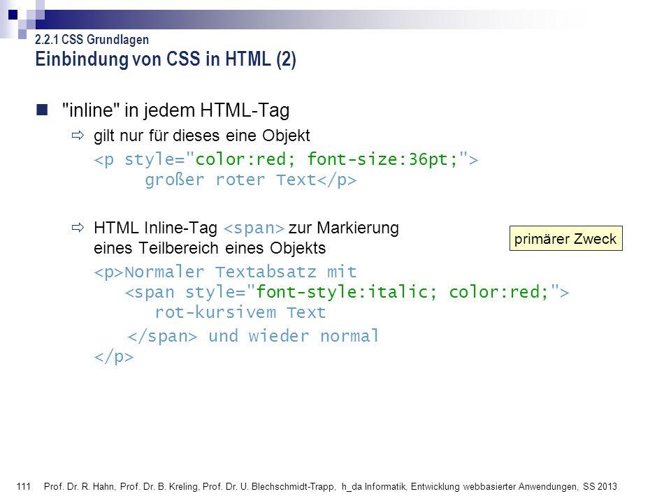 Einbindung von CSS in HTML (2)