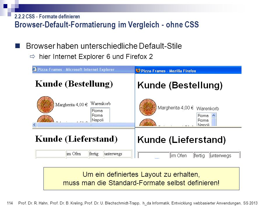 Browser-Default-Formatierung im Vergleich - ohne CSS