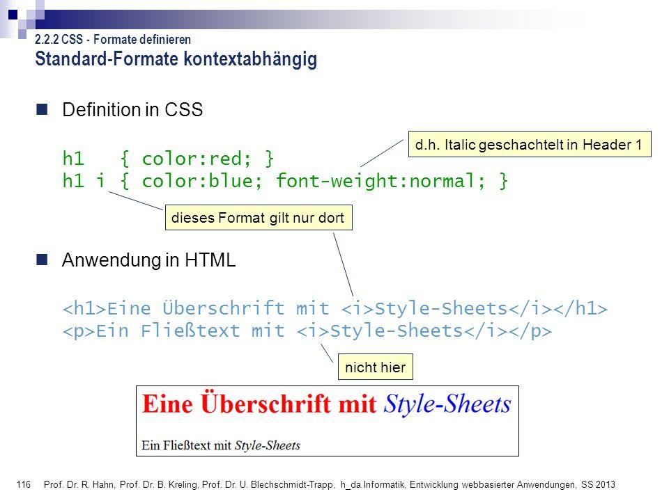 Standard-Formate kontextabhängig